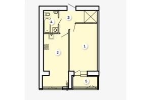 ЖК Kvartal: планировка 1-комнатной квартиры 48.82 м²