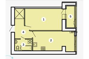 ЖК Kvartal: планировка 1-комнатной квартиры 49.35 м²