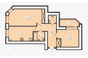 ЖК Kvartal: планировка 2-комнатной квартиры 69.69 м²