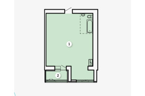 ЖК Kvartal: свободная планировка квартиры 50.82 м²