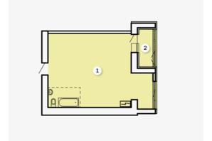 ЖК Kvartal: свободная планировка квартиры 51.35 м²