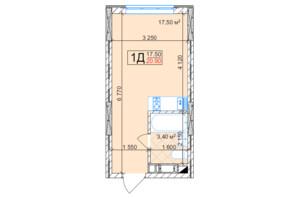 ЖК Квітень: планування 1-кімнатної квартири 20.9 м²