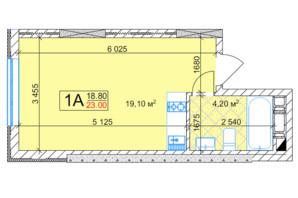 ЖК Квітень: планування 1-кімнатної квартири 23 м²