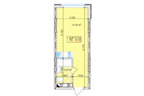 ЖК Квітень: планування 1-кімнатної квартири 25.4 м²