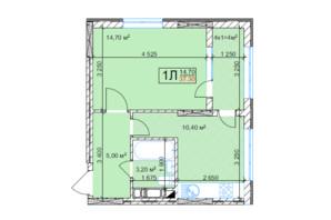 ЖК Квітень: планування 1-кімнатної квартири 37.3 м²