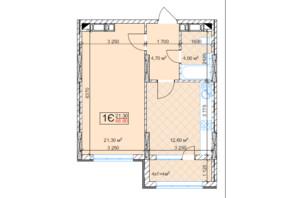ЖК Квітень: планування 1-кімнатної квартири 46.6 м²