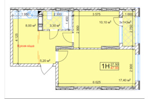 ЖК Квітень: планування 1-кімнатної квартири 47 м²