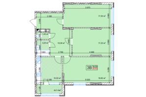 ЖК Квітень: планування 3-кімнатної квартири 89.6 м²