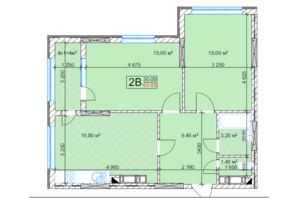 ЖК Квітень: планування 2-кімнатної квартири 63.8 м²