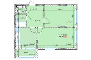 ЖК Квітень: планування 2-кімнатної квартири 65 м²