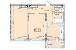 ЖК Квітень: планування 2-кімнатної квартири 68 м²