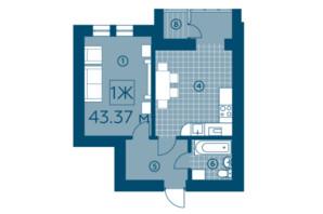 ЖК Киевский: планировка 1-комнатной квартиры 42.78 м²