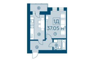 ЖК Киевский: планировка 1-комнатной квартиры 37.05 м²