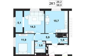 ЖК Киевский: планировка 2-комнатной квартиры 58 м²
