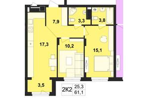 ЖК Киевский: планировка 2-комнатной квартиры 61.1 м²