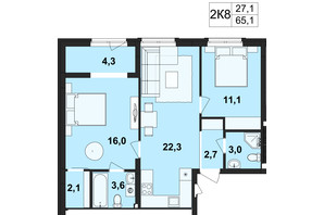 ЖК Киевский: планировка 2-комнатной квартиры 65.1 м²