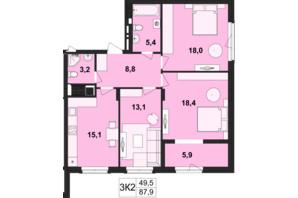 ЖК Киевский: планировка 3-комнатной квартиры 87.9 м²
