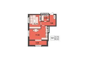 ЖК Киевский: планировка 1-комнатной квартиры 48.32 м²