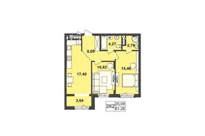 ЖК Киевский: планировка 2-комнатной квартиры 61.28 м²