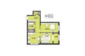 ЖК Киевский: планировка 2-комнатной квартиры 57.55 м²
