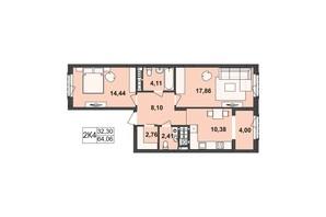 ЖК Киевский: планировка 2-комнатной квартиры 64.06 м²