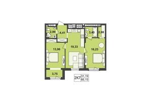 ЖК Киевский: планировка 2-комнатной квартиры 66.15 м²