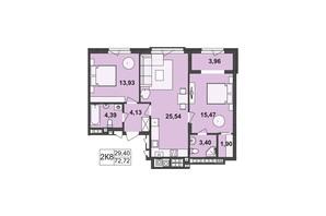 ЖК Киевский: планировка 2-комнатной квартиры 72.72 м²