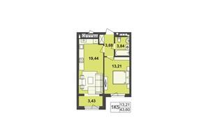 ЖК Киевский: планировка 1-комнатной квартиры 43.6 м²