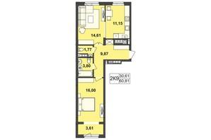 ЖК Киевский: планировка 2-комнатной квартиры 60.81 м²