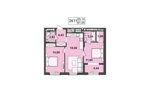 ЖК Киевский: планировка 2-комнатной квартиры 61.05 м²