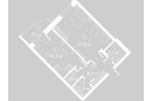 ЖК Киевский Шлях: планировка 1-комнатной квартиры 52.6 м²