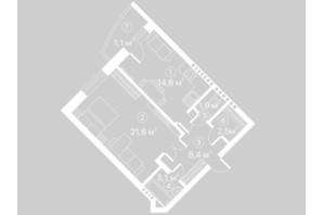 ЖК Киевский Шлях: планировка 1-комнатной квартиры 53.2 м²