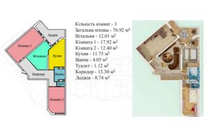 ЖК Киевский: планировка 3-комнатной квартиры 81.4 м²