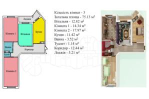 ЖК Киевский: планировка 3-комнатной квартиры 79.3 м²