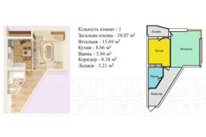 ЖК Киевский: планировка 1-комнатной квартиры 38.07 м²