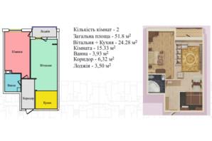 ЖК Киевский: планировка 1-комнатной квартиры 51.8 м²