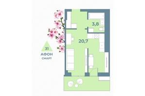 ЖК Kyiv Sky: планування 1-кімнатної квартири 31 м²