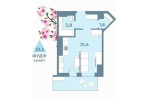 ЖК Kyiv Sky: планування 1-кімнатної квартири 33.2 м²