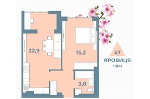 ЖК Kyiv Sky: планування 1-кімнатної квартири 47 м²