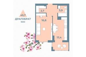 ЖК Kyiv Sky: планування 1-кімнатної квартири 45.7 м²