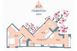 ЖК Kyiv Sky: планування 2-кімнатної квартири 67.7 м²