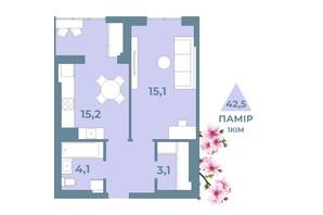 ЖК Kyiv Sky: планування 1-кімнатної квартири 42.5 м²