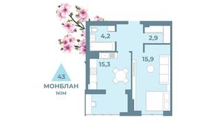 ЖК Kyiv Sky: планування 1-кімнатної квартири 43 м²