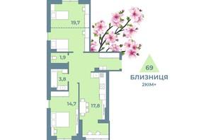 ЖК Kyiv Sky: планування 2-кімнатної квартири 69 м²