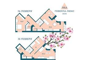 ЖК Kyiv Sky: планування 3-кімнатної квартири 118.6 м²