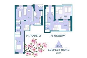 ЖК Kyiv Sky: планування 3-кімнатної квартири 134.7 м²