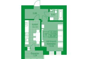 ЖК Київський: планування 1-кімнатної квартири 35.87 м²
