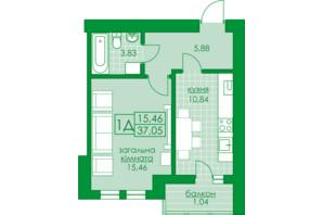 ЖК Київський: планування 1-кімнатної квартири 37.05 м²