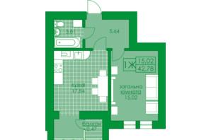ЖК Київський: планування 1-кімнатної квартири 42.78 м²
