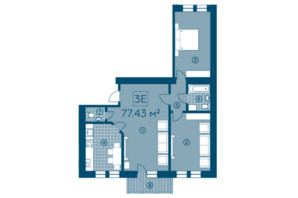 ЖК Київський: планування 3-кімнатної квартири 74.34 м²